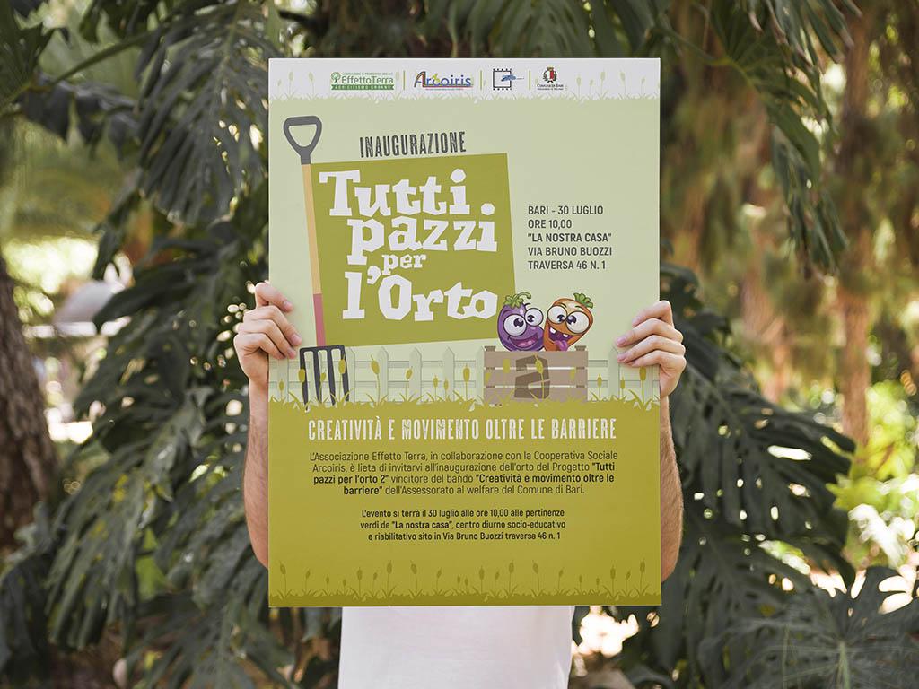 manifesto per progetto tutti pazzi per l'orto-effetto terra-bari