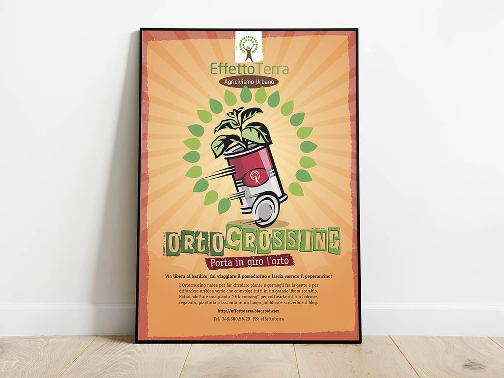manifesto ed etichette per Orto Crossing - effetto terra